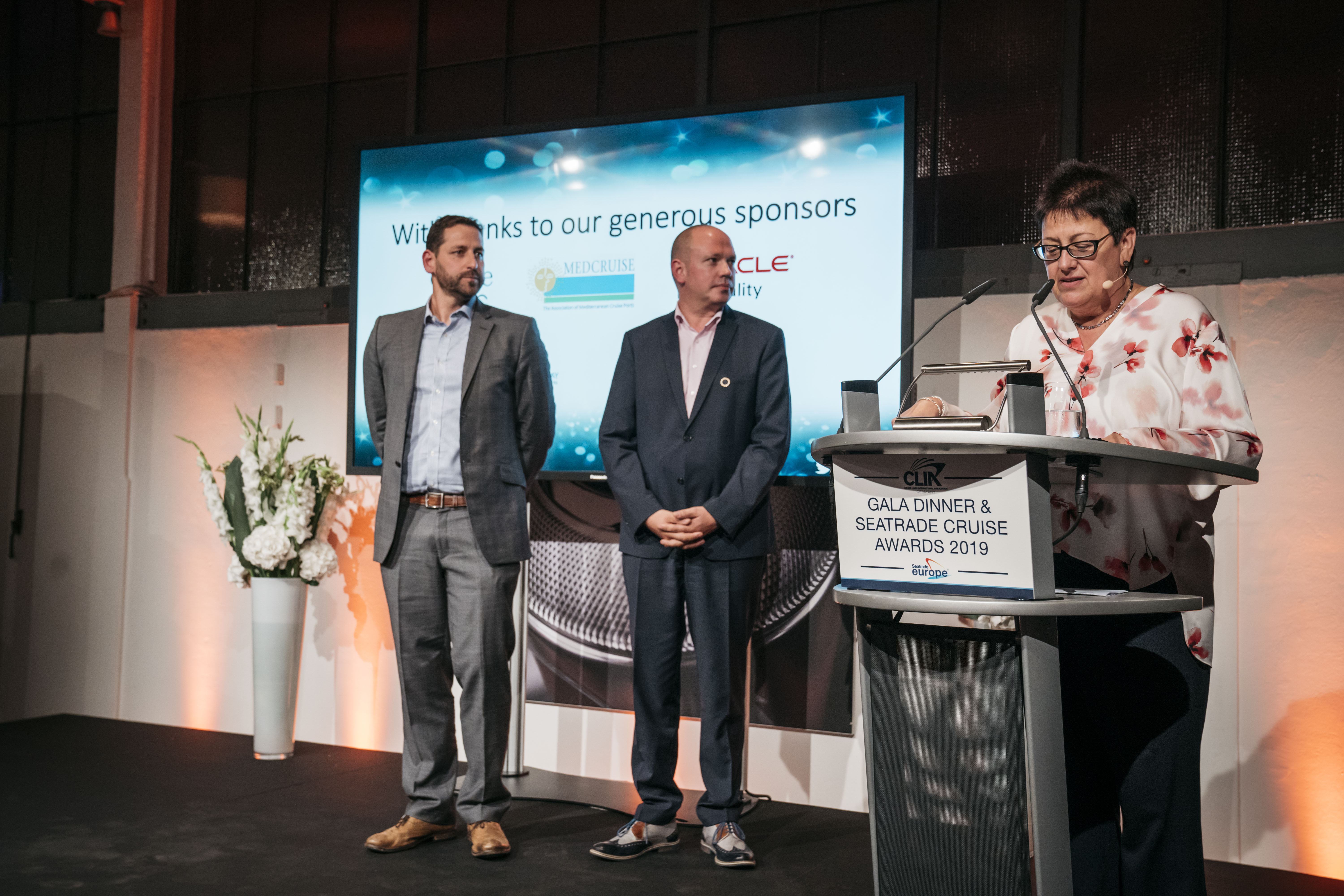 L-R Ian Richardson, CEO & Co-founder, TheICEWay, Ingo Soerensen, Area VP, Global Cruise Sales, Oracle Hospitality and Mary Bond, Group Director, Seatrade Cruise